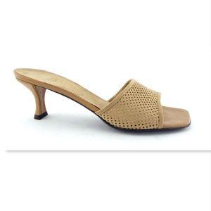 STUART WEITZMAN Beige Perforated Suede Sandals 8